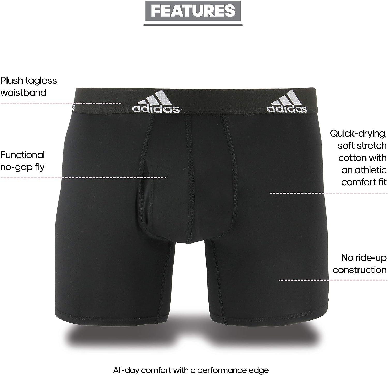 adidas Men's Stretch Cotton Boxer Brief Underwear (3-Pack)