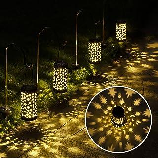چراغ های مسیر خورشیدی GIGALUMI ، 6 بسته فانوس خورشیدی چراغ های خورشیدی در فضای باز ضد آب ، چراغ های آویز خورشیدی ستاره ماه چراغ های منظره خورشیدی در فضای باز برای راهرو ، باغ ، پاسیو ، چمن ، حیاط