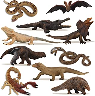 TOYMANY 10PCS Tropical Reptile Animal Figurine Toy Set - Cold Blooded Amphibians Safari Animal Figures Set with Dragon Liz...