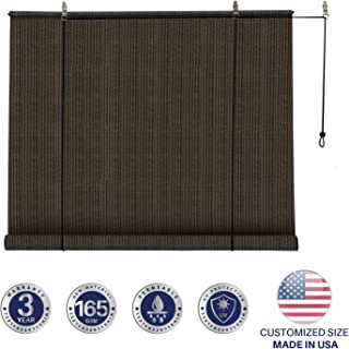Windscreen4less Exterior Roller Shade Blinds Outdoor Roll Up Shade with 90% UV Protection Privacy for Deck Back Yard Gazebo Pergola Balcony Patio Porch Carport 4' W x 6' L Brown