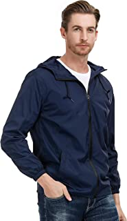 PAUL JONES Men's Lightweight Watertight Rain Jacket Windbreaker with Hood