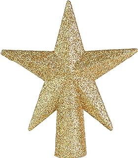 Ornativity Glitter Star Tree Topper - Christmas Mini Gold Decorative Holiday Bethlehem Star Ornament