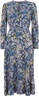 Marks & Spencer Women's Floral Midi Waisted Dress, NAVY MIX