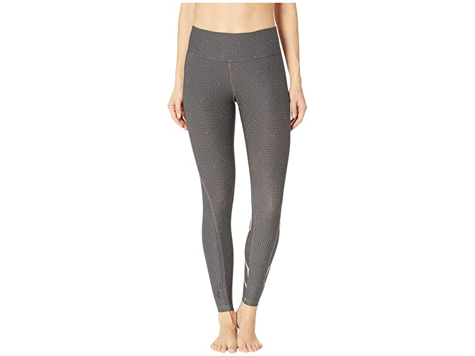 Image of 2XU Print Mid-Rise Compression Tights (Brick Black/Champagne) Women's Workout