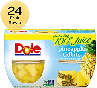DOLE FRUIT BOWLS, Pineapple Tidbits in 100% Pineapple Juice, 4 Ounce (4 Cups) (Pack of 24)
