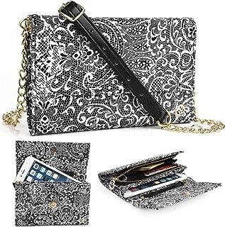 EnvyDeal Timeless Black Paisley Wallet Case for Women Fits Google Pixel 2 3, Pixel 2 3 XL Weekender Crossbody Bag