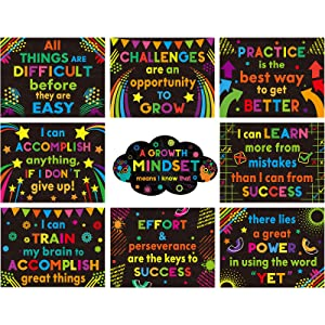 9 Pieces Growth Mindset Posters Inspirational Quote Classroom Poster Bulletin Board Poster Set Motivational Wall Banners Decorations for Teacher Student School Supplies