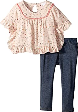 Printed Ruffle Poncho/Denim Knit Leggings Set (Infant)