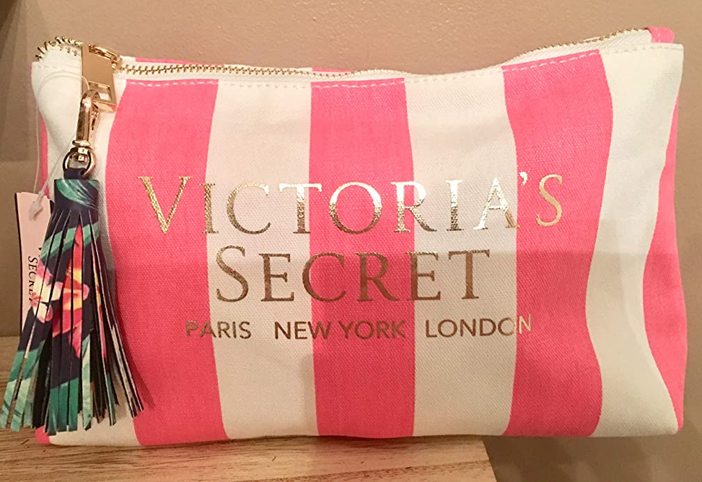 VICTORIA SECRET STRIPED MED SIZE COSMETIC BAG WITH TASSEL AND MATCHING INSIDE - SOLD OUT