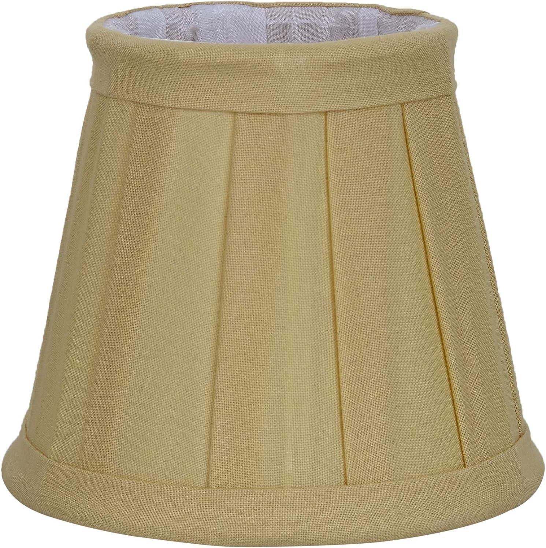 BETTER & BEST Q B&B Q BETTER & BEST Pantalla de lámpara de algodón, con Pinza de sujeción para Bombillas Tipo Vela, de 12 cm, Tabla Estrecha, Color Amarillo