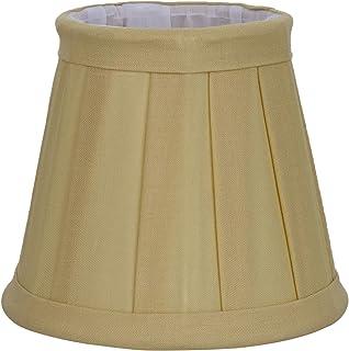 Better & Best Pantalla de lámpara de algodón, con pinza de sujeción para bombillas tipo vela, de 12 cm, tabla estrecha, color amarillo