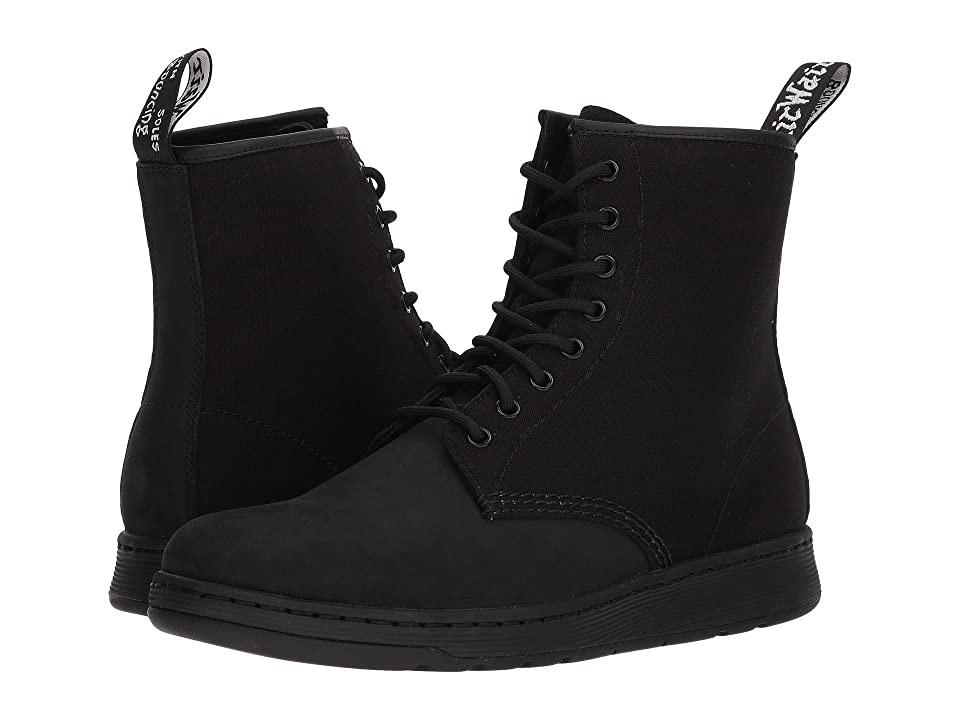 Dr. Martens Newton 8-Eye Boot (Black Kaya/Black 12 oz Canvas) Lace-up Boots