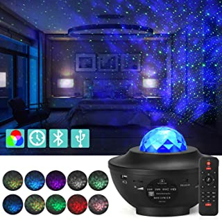 YISUN LED Star Projector, Music Starry Projector with 21 Lighting Modes, Bluetooth Music Player, Remote, Timer, USB Star Sea Projector for Gifts Decor Party Birthday Wedding, Star Night Light for Kids