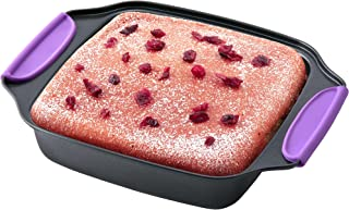 """Amazing Abby - Chef Stacy - 8"""" x 8"""" Non-Stick Square Cake Pan with Heat-Resistant BPA-Free Silicone Handle Grips, Oven-Saf..."""