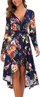 Kormei Women Long Sleeve V Neck Floral High Low Flowy Party Long Maxi Dress with Belt