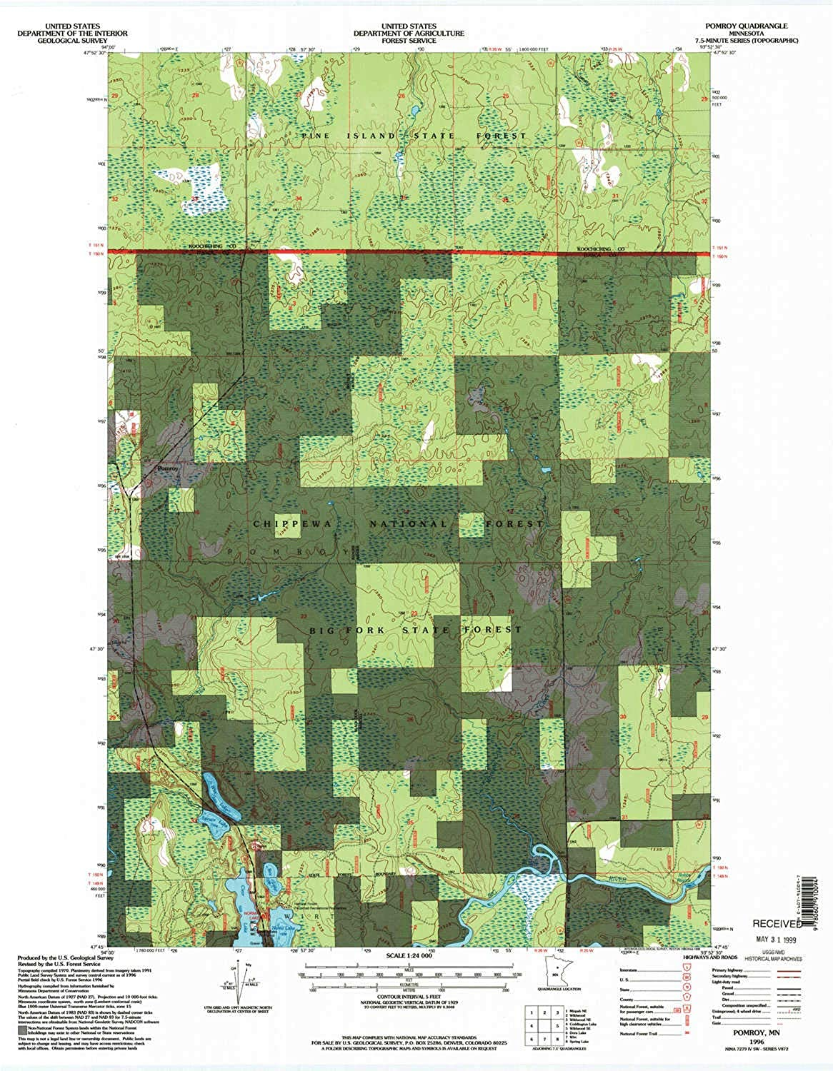 Pomroy MN topo map, 1 24000 Scale, 7.5 X 7.5 Minute, Historical, 1996, Updated 1998, 27.23 x 21.53 in
