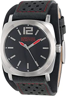 10008536 Reaction Men's Grey Leather Band With Black Dial Watch NWT