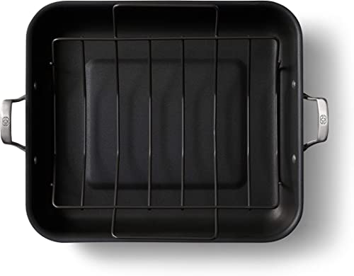 lowest Calphalon 2029653 Premier Hard-Anodized Nonstick 16-Inch Roaster outlet sale 2021 with Rack, Black outlet sale