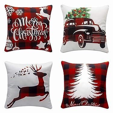 Juego de 4 fundas de almohada navideñas de 1.6 x 17.7in, decoración navideña