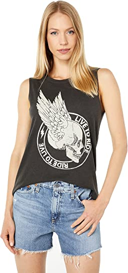 """""""Live To Ride"""" Cloud Jersey Cropped Hi-Lo Muscle Tank"""