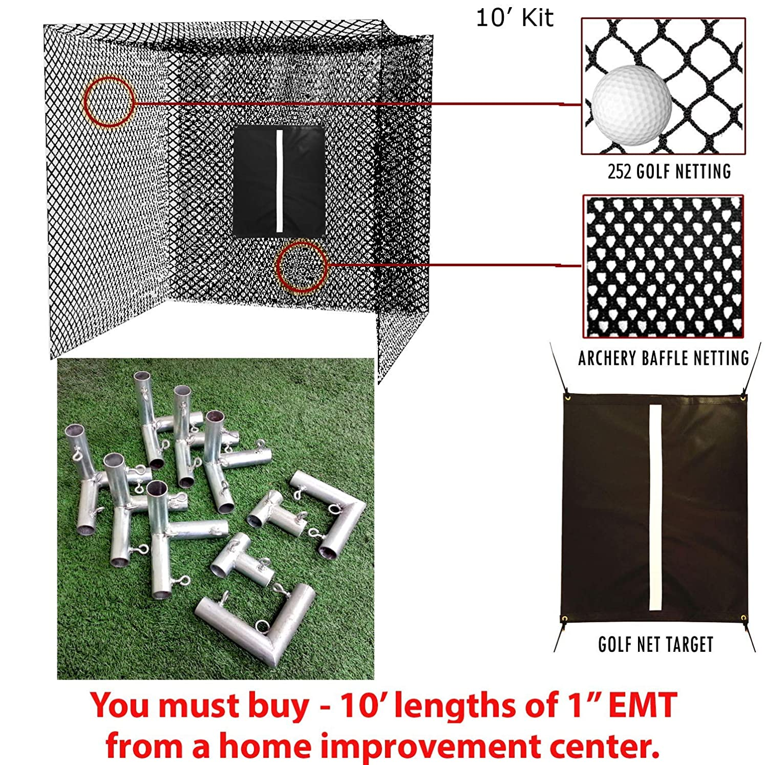 Select Golf Hitting Net, Baffle, and Golf Net Target with DIY Frame Corners - 10' Poles NOT Included qyglxqjuj1732614