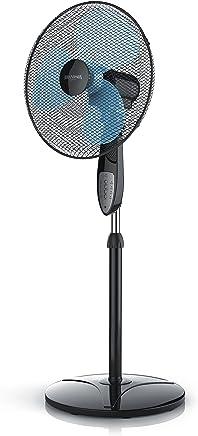 Brandson - 40cm Ventilateur sur Pied avec Télécommande | fonction oscillation 80° | Trois vitesses | Hauteur Ajustable | pales aérodynamiques | Model 2018 | Noir