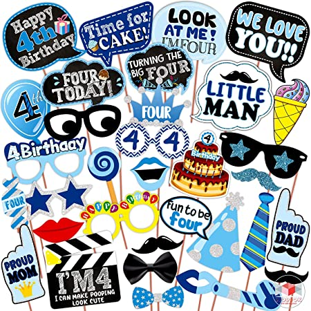 WOBBOX Fourth Birthday Photo Booth Party Props Blue for Baby Boy , 4th Birthday Decorations for Boys , Kids Birthday Party Decoration Items