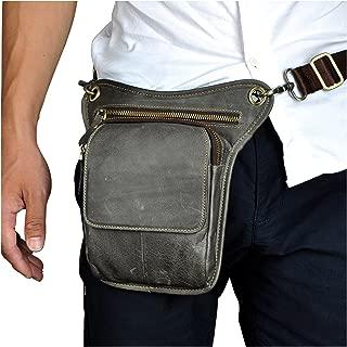 Le'aokuu Mens Genuine Leather Multi-Purpose Racing Drop Leg Bag Motorcycle Outdoor Bike Cycling Waist Bag (Grey)