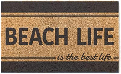 Kindred Hearts 18x30 Coir Doormat Beach Life is Best Stripe, Multicolor