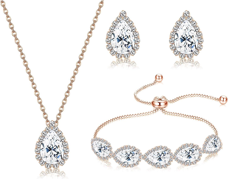 LOYALLOOK Wedding Jewelry for Bride CZ Teardrop Bridesmaid Earrings Bracelets Pendant Rhinestone Necklace Costume Jewelry Wedding Necklace Sets for Women Brides Bridesmaids