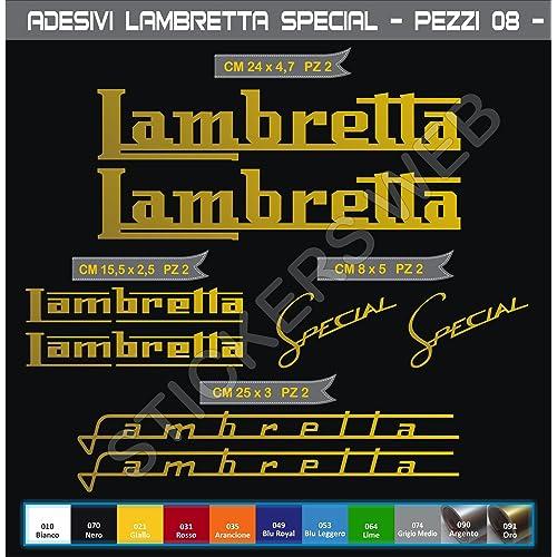 Pimastickerslab Adesivi Stickers Lambretta Special Kit 08 Pezzi Scegli Colore Moto Motorbike cod.0556