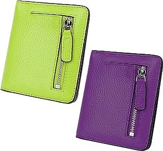 AINIMOER Women Leather Wallet RFID Blocking Small Mini Bifold Zipper Pocket Card Case Light Green and Dark Purple