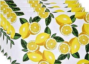 """Disposable Lemons Paper Place Mats 50 Pack 11""""x 17"""" Rectangle Summer Yellow Lemon Slices Citrus Fruit Charger Place Mat fo..."""