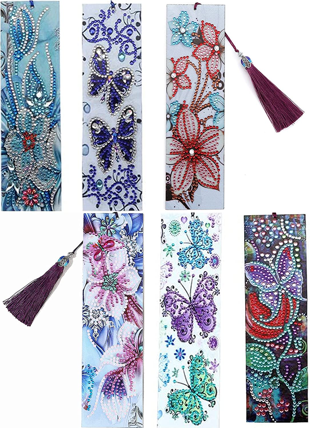 6 Pack Bookmarks 5D Painting Seasonal Wrap Max 84% OFF Introduction Diamond Butterfly 8.3''Le