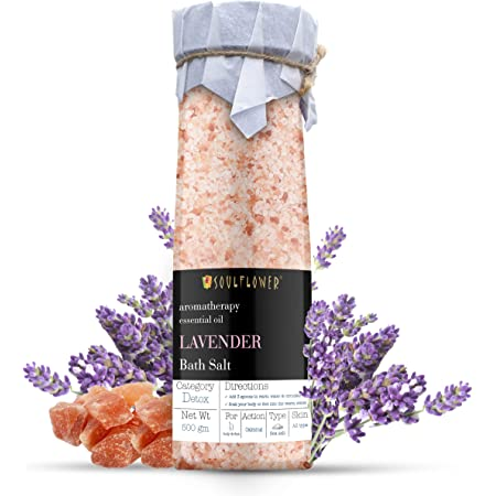 Soulflower Lavender Himalayan Pink Rock Bath Salt, 500g for Muscle Relief, Skin Softener – Preservatives Free