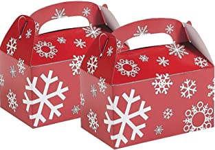 Fun Express Red/White Snowflake Treat Boxes | 24 Count | Great for Christmas Parties, Holiday Celebrations, and Special Occasions
