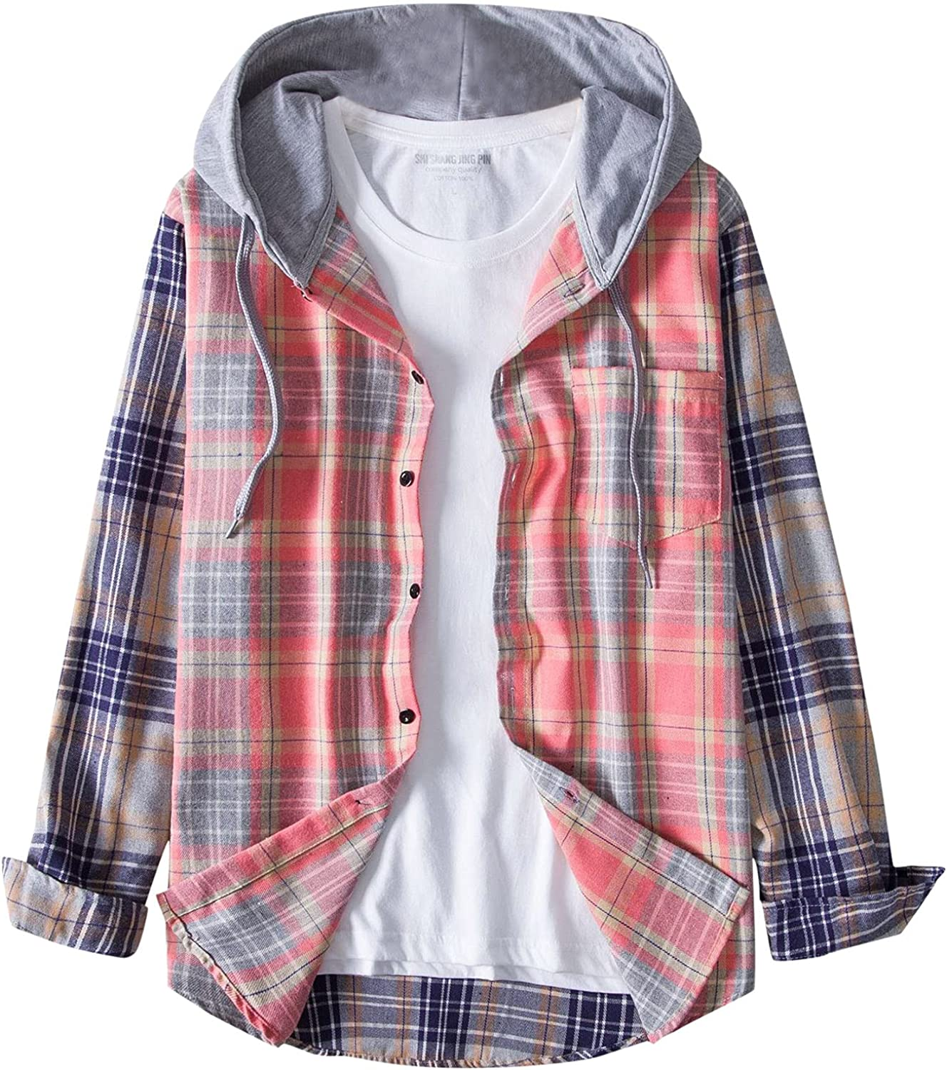 XXBR Plaid Hooded Shirts for Mens, Fall Button Down Long Sleeve Fashion Checked Vintage Casual Hoodies Shirt with Pocket
