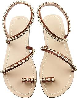 Women's Crystal with Rhinestone Bohemia Flip Flops Summer Beach T-Strap Flat Sandals