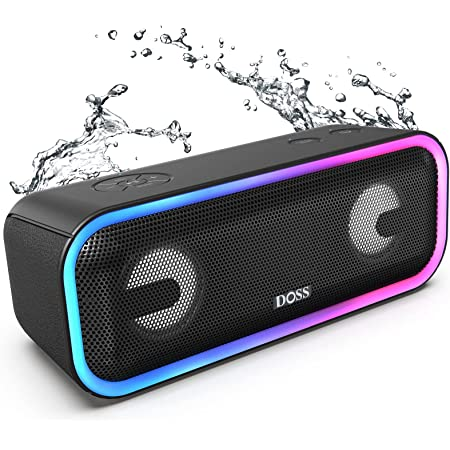 Bluetooth Speakers, DOSS SoundBox Pro+ Wireless Bluetooth Speaker with 24W Impressive Sound, Booming Bass, IPX5 Waterproof, 15Hrs Playtime, Wireless Stereo Pairing, Mixed Colors Lights, 66 FT-Black