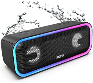 DOSS SoundBox Pro+ Bluetoothスピーカー ワイヤレス ポータブル 小型スピーカー 【24W 重低音/15時間再生 /ワイヤレスステレオ対応/ライティング機能/IPX5 防水/マイク内蔵/20m最大伝送距離/Aux-in...