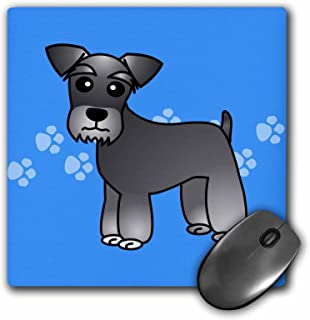 3dRose LLC 8 x 8 x 0.25 Inches Mouse Pad, Cute Miniature Schnauzer Banded Coat Salt and Pepper Cartoon Dog Blue with Pawprints (mp_40882_1)