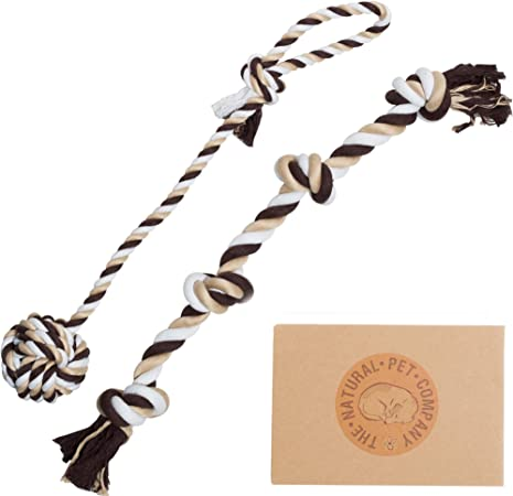 The Natural Pet Company Two Fantastic Quality Dog Toys in Beautiful Gift Box (Tug-of-War Dog Rope Toy Double Pack)