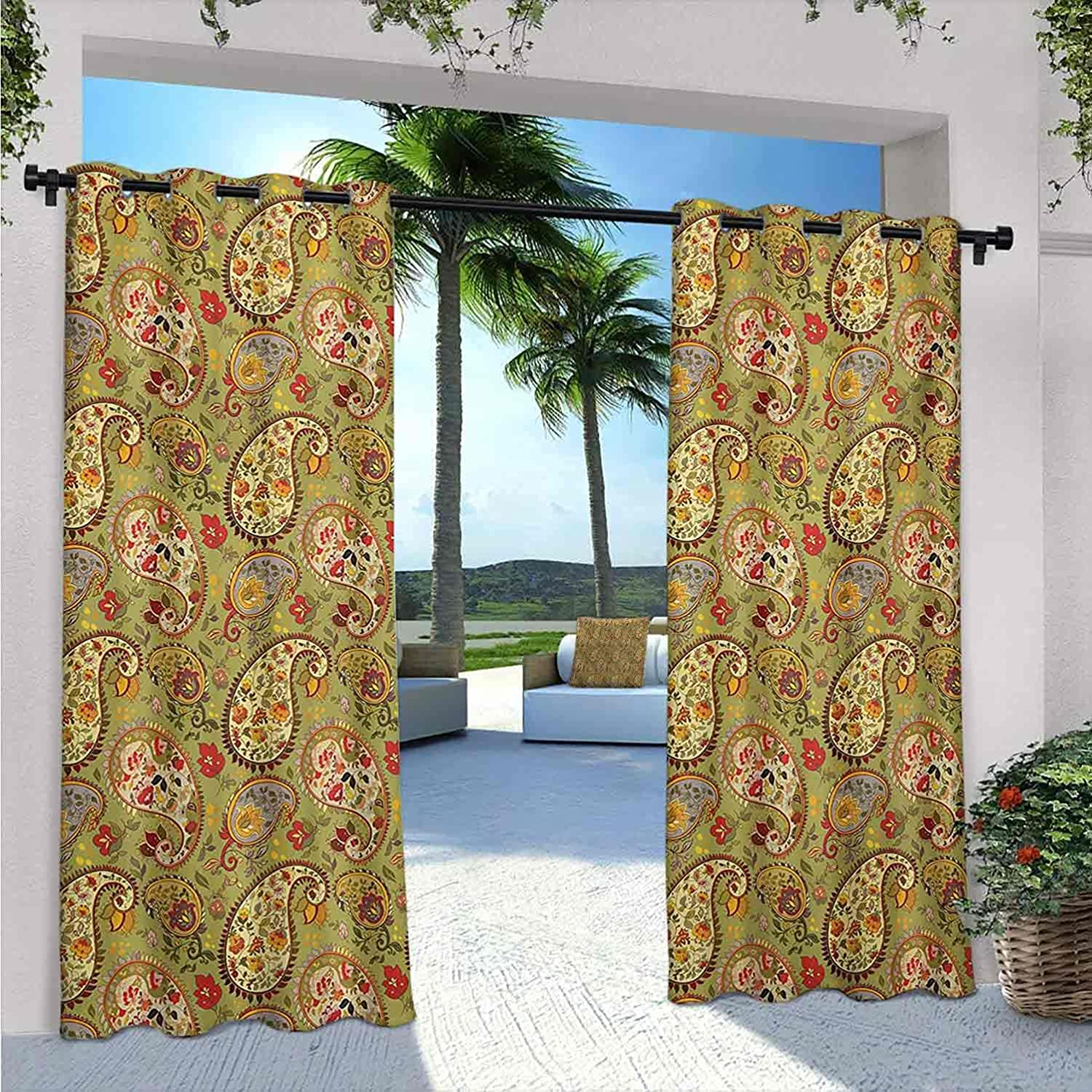 Paisley Waterproof Indoor Outdoor Curtains A Patio Choice Translated Colorful for