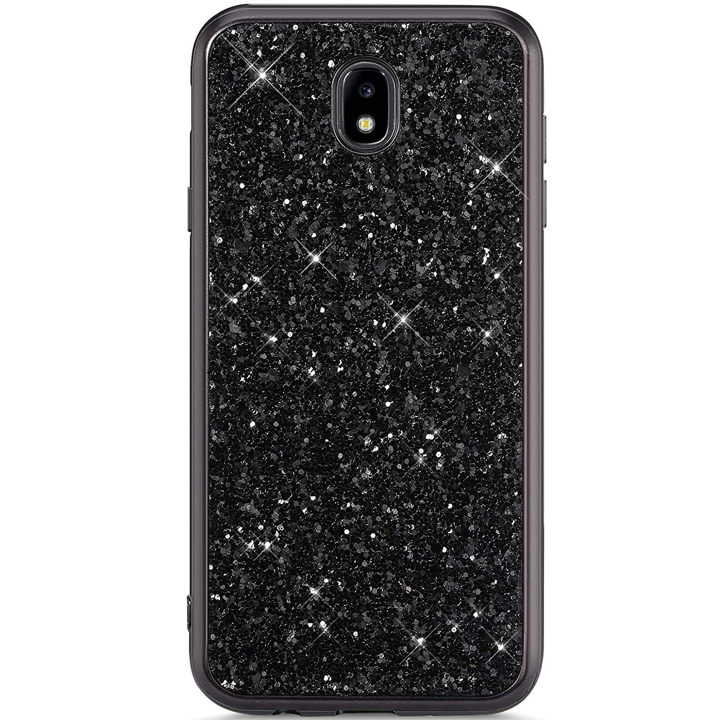 IKASEFU Compatible with Samsung Galaxy J7 Pro 2017 Case Flash Back Shockproof Luxury Glitter Sparkly Bling Cute Shiny PC+Soft TPU silicone Thin Bumper Protective plating Cover,black