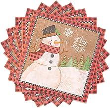 Kerstmis papieren servetten Snowman Pattern cocktailservetten 60 Sheet Wegwerp Beverage Servetten for Kerstmis Holida zcaq...