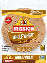Mission Soft Taco Whole Wheat Tortillas, Whole Grain, High Fiber, Trans Fat Free, Medium Size, 10 Count