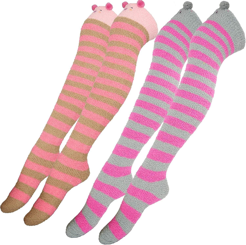 2 Pairs Girls Knee High Socks Fuzzy Plush Striped Over Knee Warm Sock Long Calf