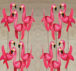 Bulk Set of 14 Pink Twirling Flamingo Yard Signs Whirly gig Twirling Wings Lawn Ornaments with 20 Inch Stakes, for Yard Decorations, by 4E's Novelty