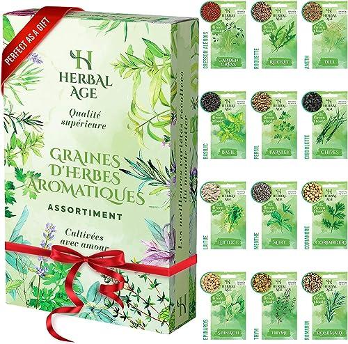 Cultivez votre propre jardin d'herbes aromatiques –12 variétés d'herbes aromatiques,8700 graines – Kit de plantation ...