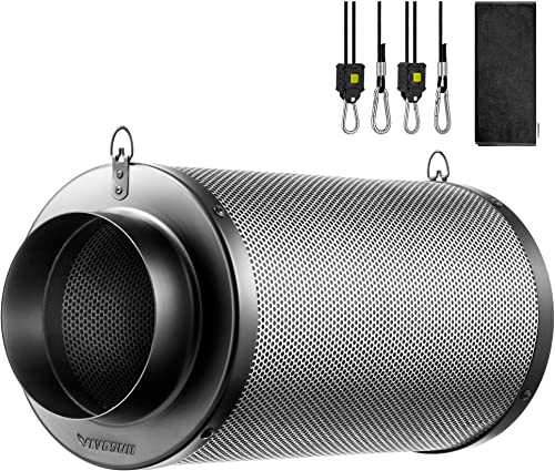 """lowest VIVOSUN 4 Inch Air 2021 Carbon Filter Smelliness Control with Australia Virgin Charcoal for Inline Fan, Grow Tent Smelliness popular Scrubber, Pre-Filter Included, Reversible Flange 4"""" x 14"""", Black outlet sale"""